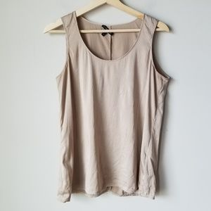 Eileen Fisher Brown Nude Silk Shell Tank Blouse S
